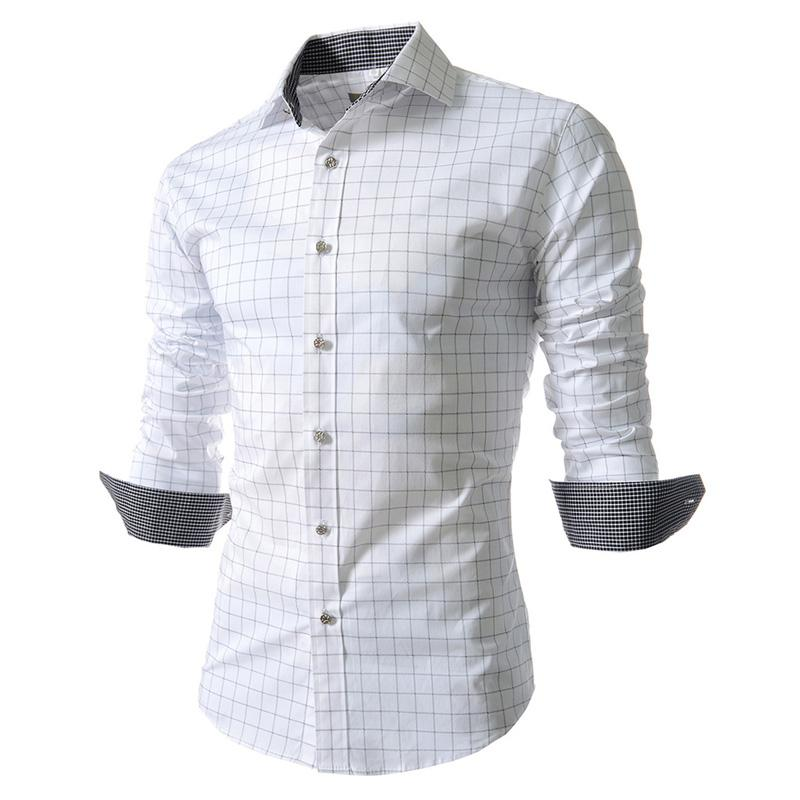 316d1d3e317d5c 2019 New 2018 Fashion Casual Base Business Camisa Social Printing Plaid  Grid Men'S Long Sleeve Slim Fit Men Shirt Mens Clothing From Beenling, ...