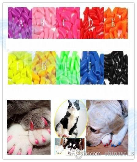 Soft Pet Dog Cats Kitten Paw Claws Control Nail Caps Cover wraps catlike sets cat armor nail cap with glue multicolor