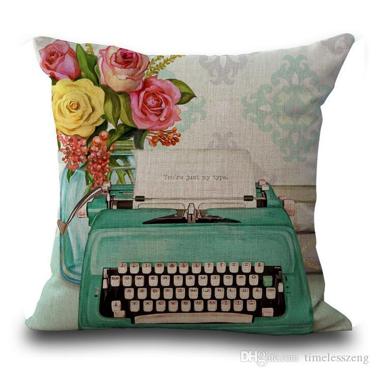 Retro style pillow case 45*45cm phone camera printing pillow cover cotton and linen sofa cushion cover pillowcase