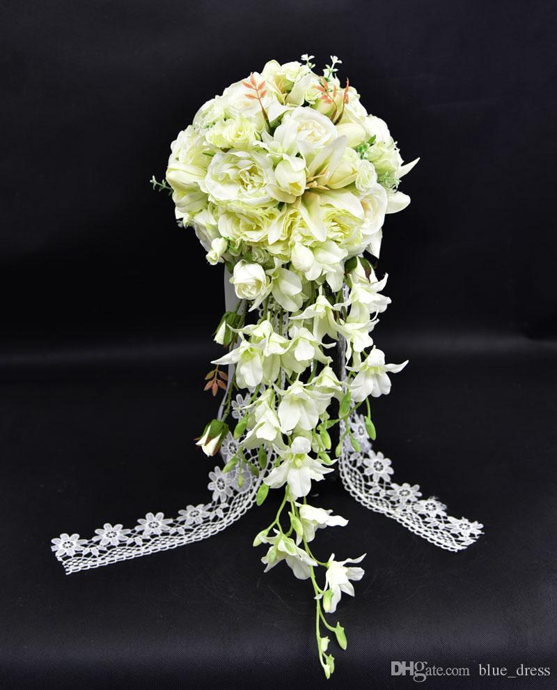 47d628669f619 Waterfall style bouquet Fashion Artificial Bride Hands Holding Flower  Wedding Bridal Bouquet Green Buquet 2018 Free Shipping