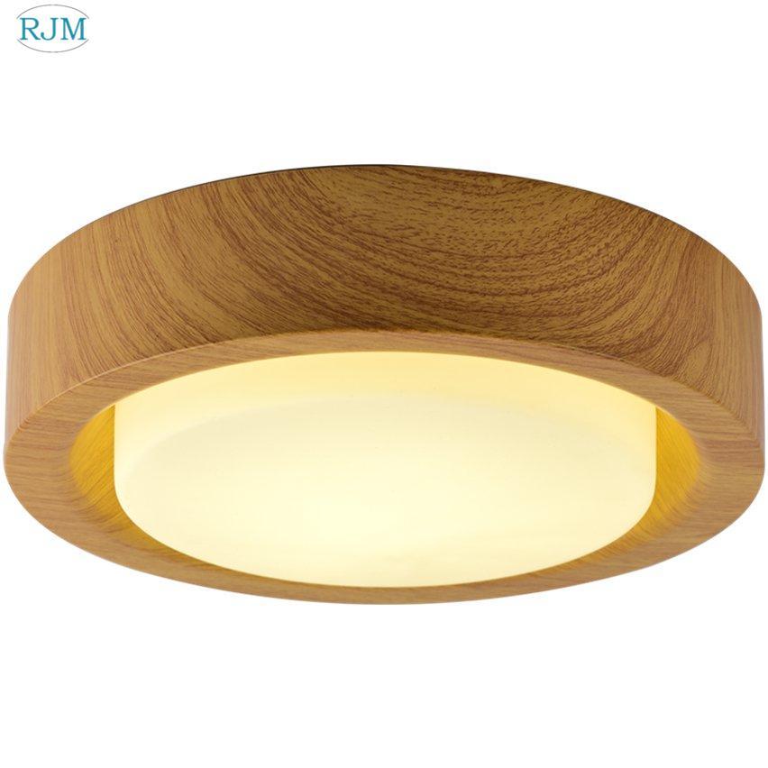 Acheter Moderne En Bois Rond Lampe De Plafond En Verre Abat Jour Led