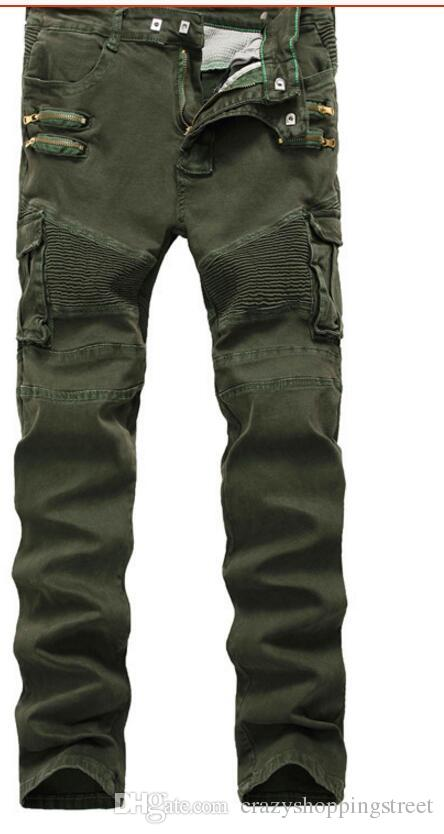 454800ff954 2019 Army Green Jeans Biker Straight Skinny Zipper Multi Pocket Pants Denim  Casual Long Trousers Plus Size