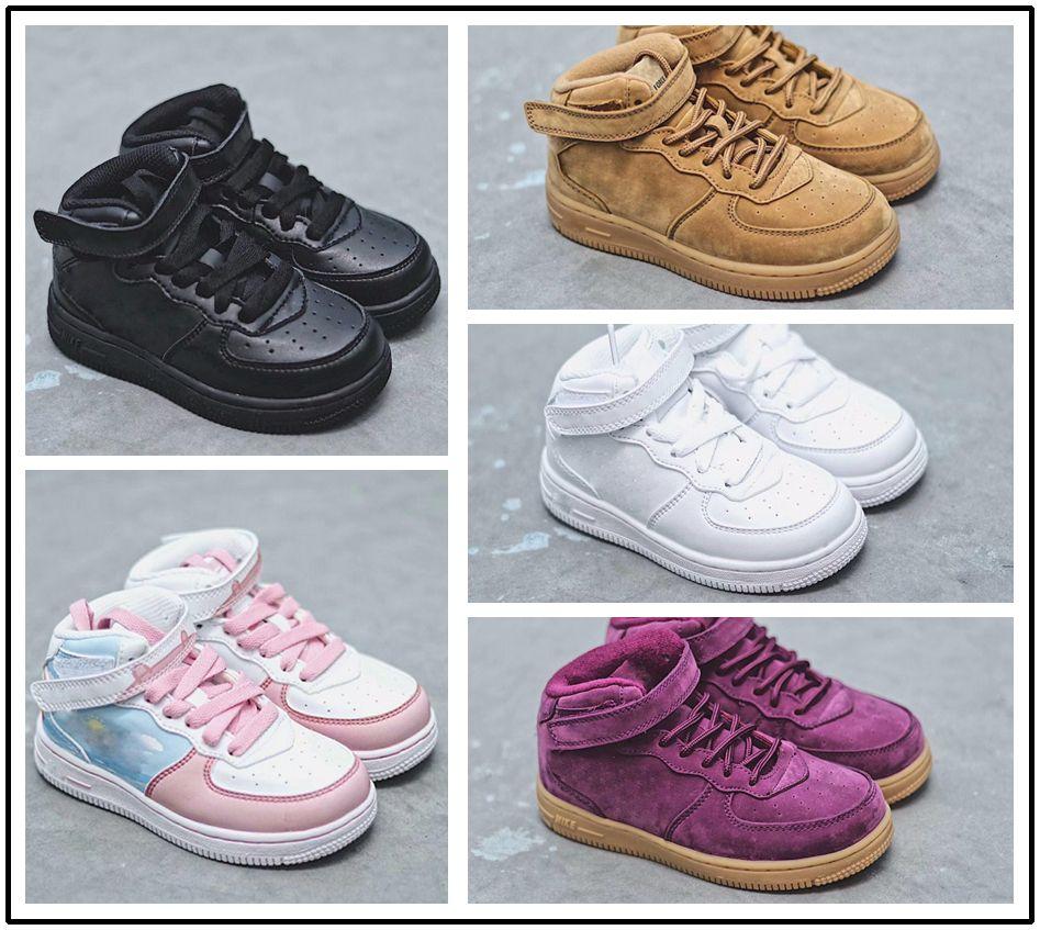 df723064a3976 Compre Nike Air Force 1 Af1 Bebés Niños Zapatillas De Deporte Clásicas De  AF Trainersi Niño Niña Niña Air High Low Cut Purple One 1 Niño Zapatillas  Deporte ...