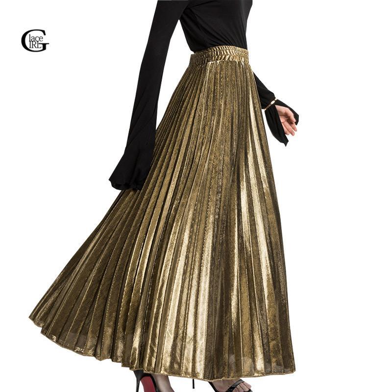 cbec31c39a Compre Lace Girl 2018 Primavera Plisada Faldas Largas Para Las Mujeres Falda  De Moda Oro Plata Vintage Metalizado Maxi Faldas Formales Fiesta A  27.68  Del ...