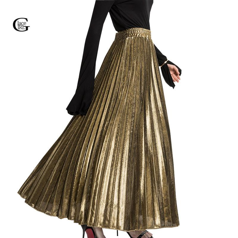 1fc971127 2019 Lace Girl 2018 Spring Pleated Long Skirts For Women Skirt Fashion Gold  Silver Vintage Metallic Maxi Skirts Formal Party From Freea, $27.68 |  DHgate.Com