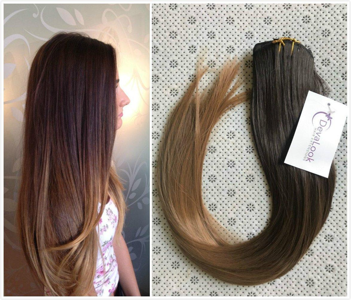22 Inches Straight Full Head Ombre Dip Dyed Clip In Hair Extensions
