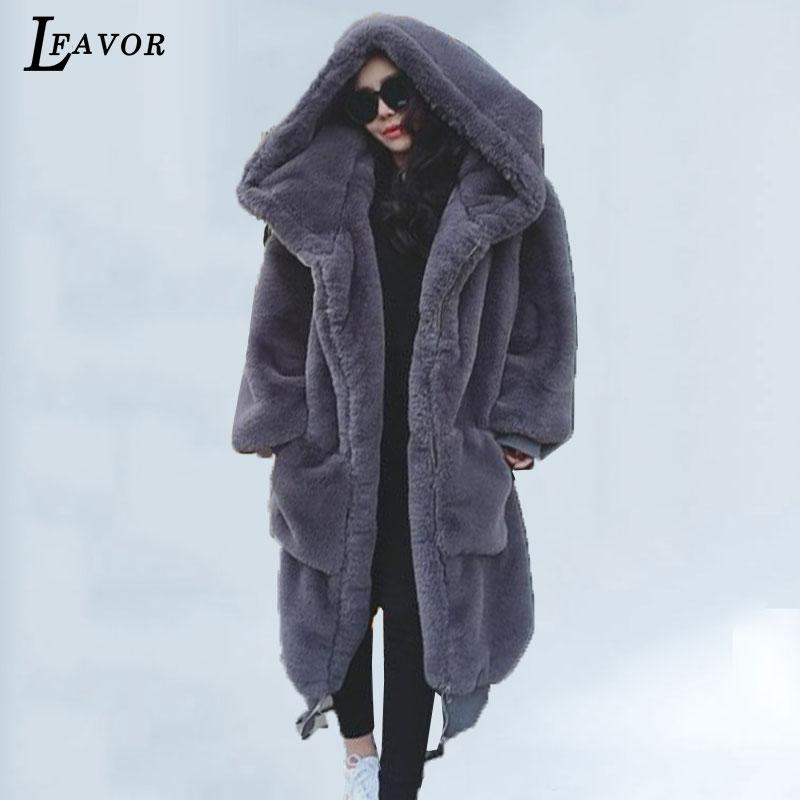 86d47c8305b09 2019 Plus Size 2018 New Winter Women Faux Fur Coat Fashion Beaver Rabbit  Hair Fur Jacket Thicken Warm Long Hooded Casual Female Parka From Aimea