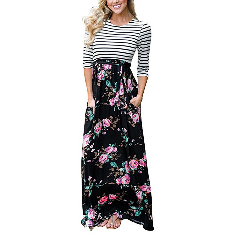 f72822133c59 Bohemian Style Women Floral Tank Maxi Dress With Pocket Elegant Ladies Long  Sleeve Casual Summer Long Dresses Vestidos De Festa Women Dress Collection  ...