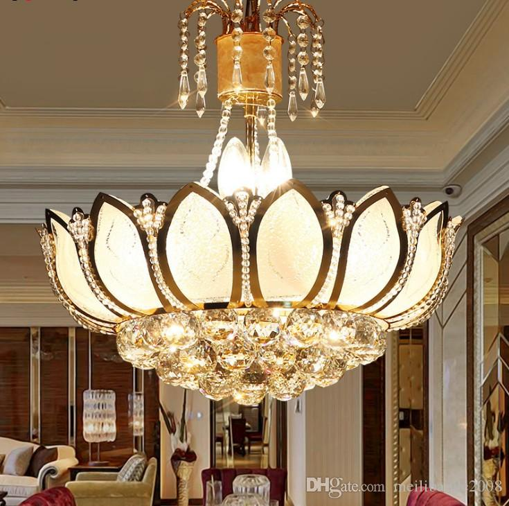 Lotus Flower Glass Gold Led Crystal Chandeliers Lights Ceiling Pendant Lamp 45cm 50cm For Dining Room Bedroom Lighting Llfa Chandelier Deer Antler