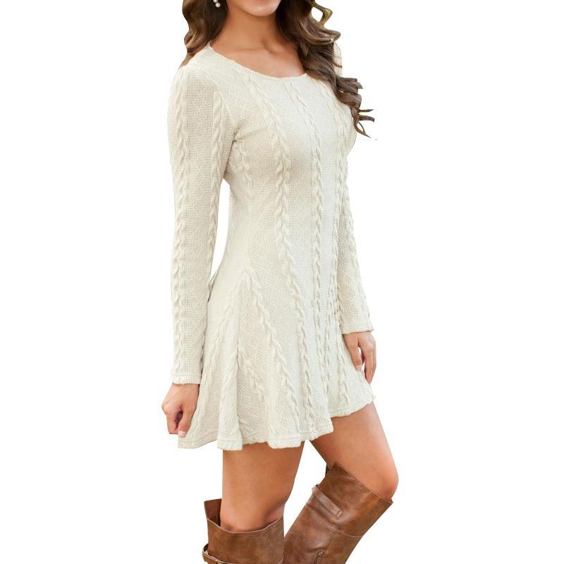 Compre Causal De Las Mujeres Más El Tamaño S 5XL Vestido Corto Mujer Otoño  Invierno Blanco Manga Larga Punto Suelto Suéteres Vestidos Y1890601 A   20.97 Del ... 0a5e84b8665f6