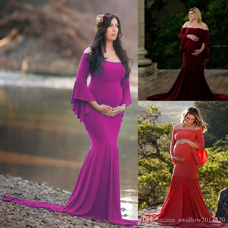 dae52735406 Maxi Maternity Dress For Photo Shoot Flare Sleeves Maternity Photography  Props Pregnancy Clothes For Pregnant Women Long Rayon Dress Dresses At Red  And ...