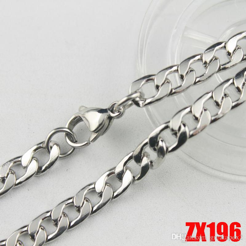 10ピース/ロット高品質の熱い販売316Lステンレススチールの男性のNKチェーンネックレス6ミリメートルメンズファッションパンクポインズZX196 450-900mm