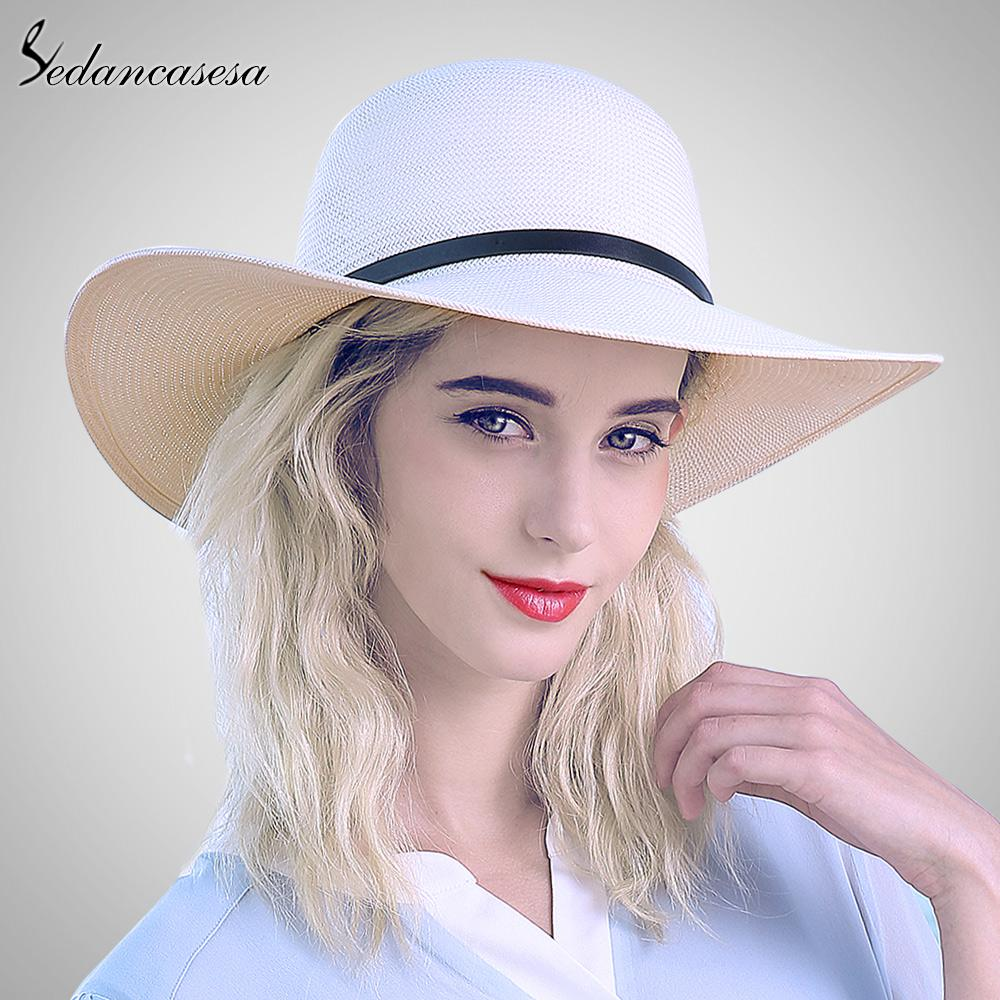 Sedancasesa White Sun Hats For Women Panama Straw Hat Summer Large Brim  Floppy Beach Hat Wide Brim Sun Protect Holiday SW012519 Hats For Women  Trilby Hat ... 8d982776d301
