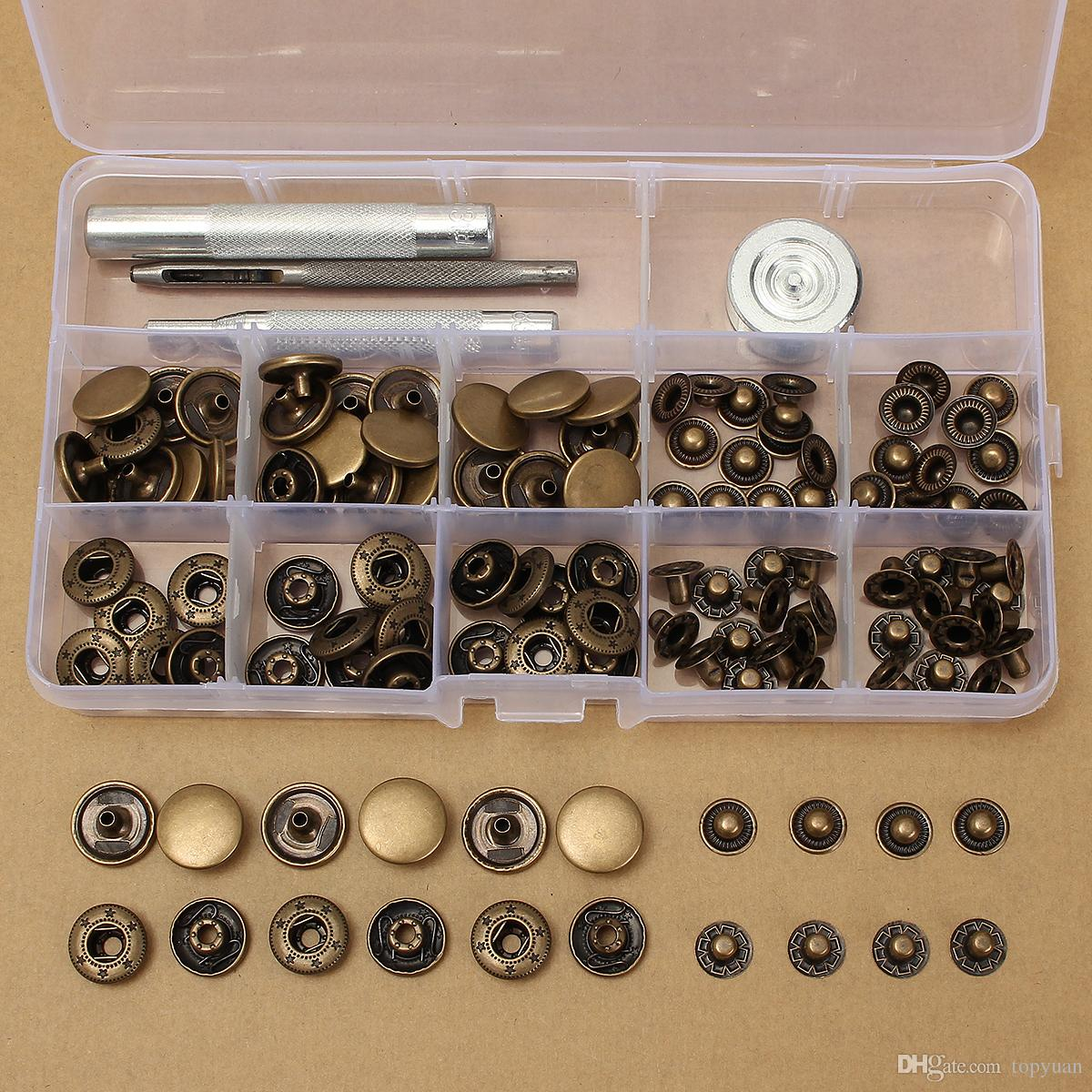 15mm Antique Brass Snap Fasteners Popper Press Stud Button Leather Tool Kit