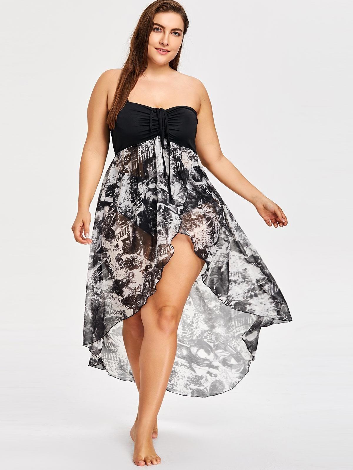 1b037e9f002 2019 Plus Size Boho Maxi Dress For Women Strapless High Low Sexy Party Dress  Summer Sleeveless Casual Beach Big Size 4XL 5XL From Huaijing