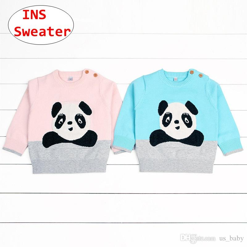 87d26262a9d2 Infant Chinese Panda Print Sweaters INS Baby Boys Girls Knitted Tops ...