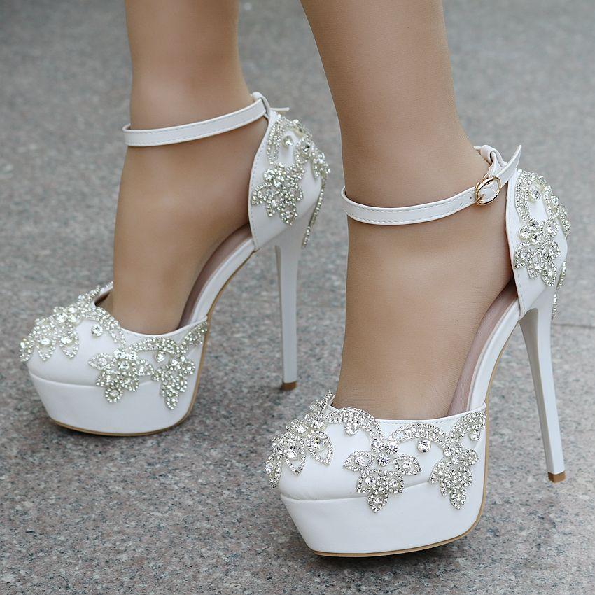 low price pretty cheap good texture 2017 White Diamond Wedding Sandal High Heels Wristband Platform ...