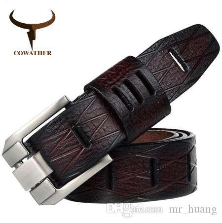 Acheter COWATHER QUALITÉ Vache Véritable Luxe En Cuir Hommes Ceintures Pour  Hommes Bracelet Mâle Boucle Ardillon GRANDE TAILLE 100 130cm 3.8 Largeur  QSK001 ... 46db043aa5e