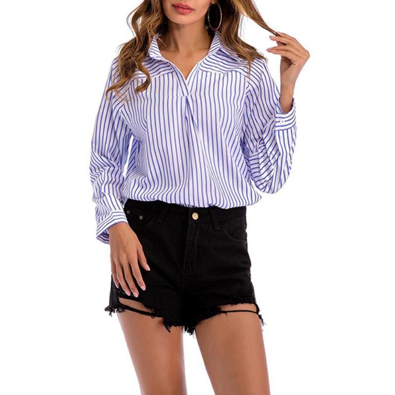cf147c46 Casual rayas verticales mujeres con cuello en V blusa suelta camisas de  trabajo Pullover Tops