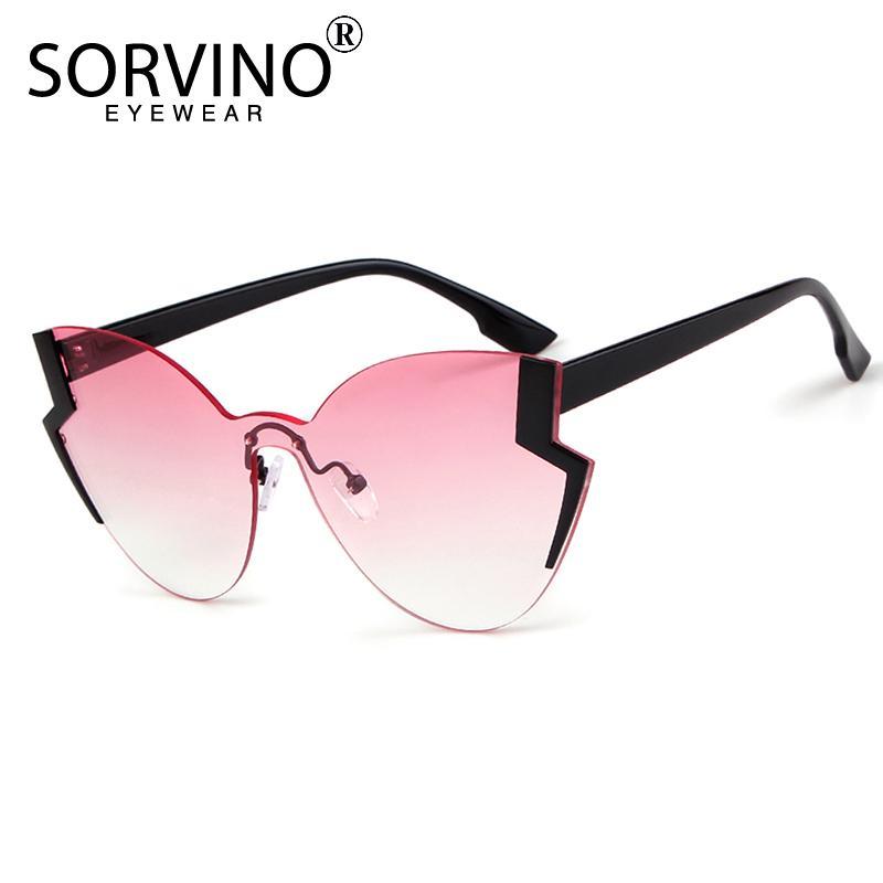 25c4432c85 Compre SORVINO Sin Marco Oro Rosa 90 S Ojo De Gato Gafas De Sol Mujeres  Retro Diseñador De La Marca Semi Rim De Gran Tamaño Cateye Gafas De Sol  Shades SP53 ...