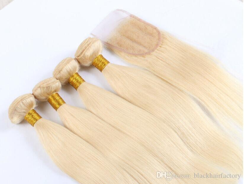 Brazilian Human Hair Blonde Weaves With Closure Straight Pure #613 Bleach Blonde Color 4x4 Lace Closure With 3 Bundles Extensions