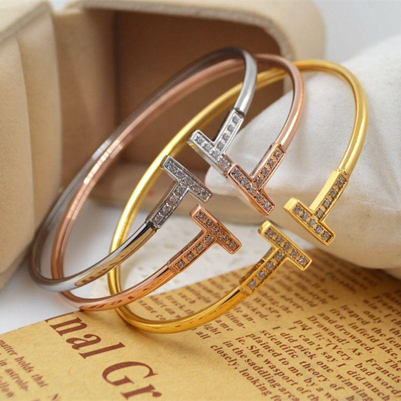 b6a4a215d fashionable openings, I bracelet, lady's simple style, rose gold T bracelet,  diamond jewelry bracelet, smooth titanium steel hand ornaments