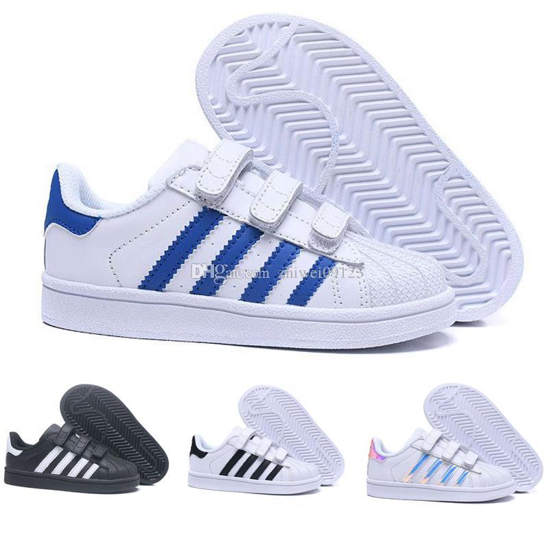 83a249d8b13 Compre 2018crianças Superstar Sapatos Original Ouro Branco Do Bebê Crianças Superstars  Tênis Originais Super Star Meninas Meninos Sports Casual Shoes 24 35 ...