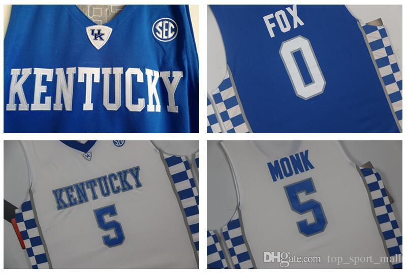 Primos de Kentucky Wildcats Jersey Escuela de Baloncesto Devin Booker John Wall Anthony Davis Karl-Anthony Towns DeMarcus Malik Monk Fox azul de los hombres