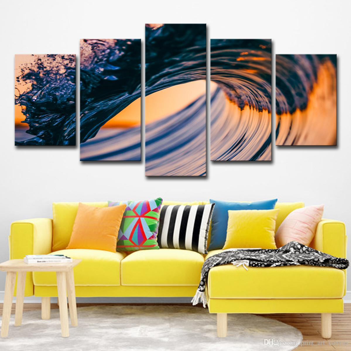 Lienzo Pinturas al óleo Arte de la pared Decoración para el hogar Sala de estar 5 Piezas Sunset Seascape Fotos HD Prints Mar Olas Playa Posters