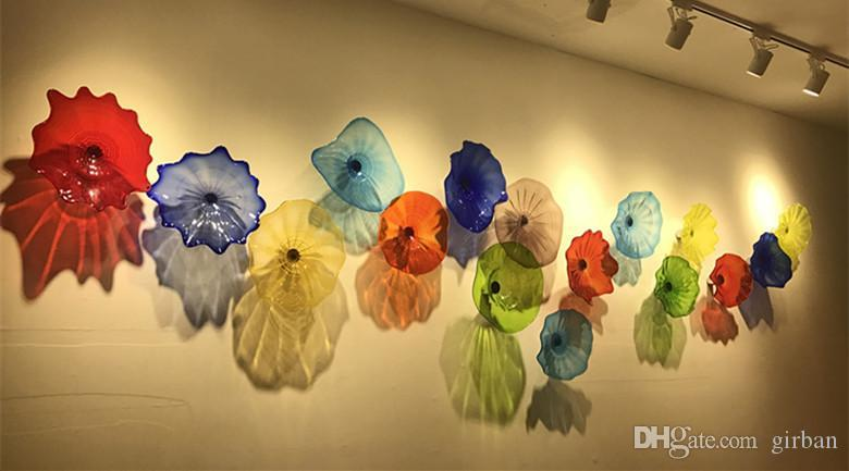 100% Piatti sospesi in vetro da parete stile Art Multicolor Lampade da parete personalizzate Applique interni