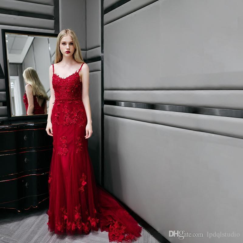 Sexy Rouge Foncé Sirène Robes De Bal 2018 Brillant Paillettes Perles Long Quinceanera Robes Robes De Soirée Peplum