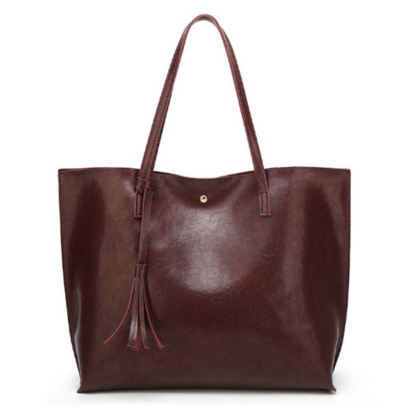cb30cc8e1c16 Oil Wax Women Leather Handbags Lady Large Tote Bag Female Pu Shoulder Bags  Bolsas Femininas Sac A Main Brown Black Red Tassel Womens Purses Leather  Bags For ...