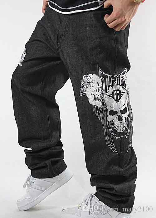Хип-хоп улица танцевальные джинсы прилив мужчины вышивка череп улица мотоцикл джинсы хип-хоп скейтборд мужские джинсы определенно диско танцевальные брюки