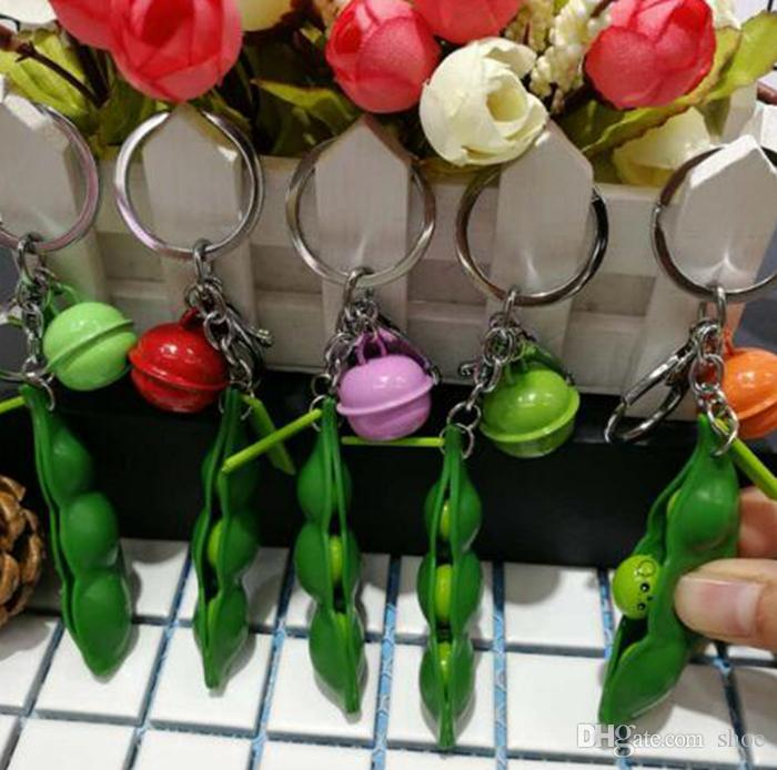 DHLFREE Creative Amusant Haricots Jouets Pendentifs Extrusion Pois Haricot Soybean Edamame Stress RelieveToy Keychain