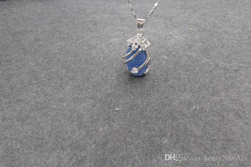 beautfuil Charme Silber 925 Feine blaue Jade-Anhänger-Halskette