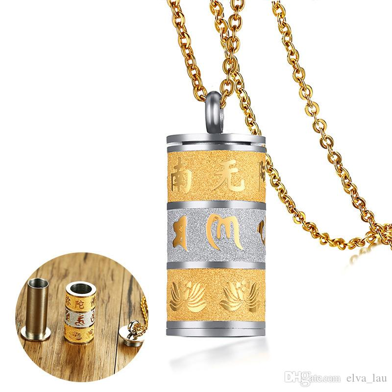 Wholesale can open prayer wheel ash pendant for men necklace gold wholesale can open prayer wheel ash pendant for men necklace gold color matte stainless steel detachable buddhism male jewelry custom jewelry gold jewellery aloadofball Image collections