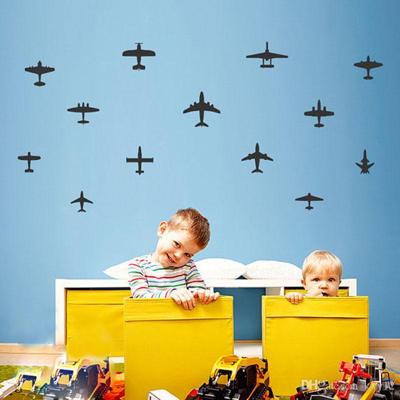 3D Cartoon Airplane Wall Stickers Wallpaper For Nursery Children Kids Bedroom Wall Poster Kindergarten