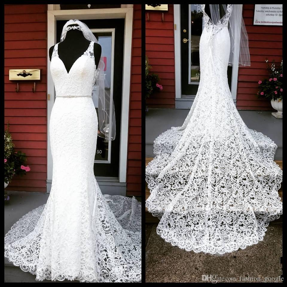 French Lace Mermaid Wedding Dress: French Lace Wedding Dresses 2019 V Neck Chapel Train Real