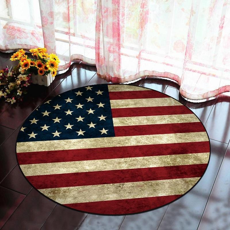 American Flag Green Leaves Round Carpet Kids Room Children Boys