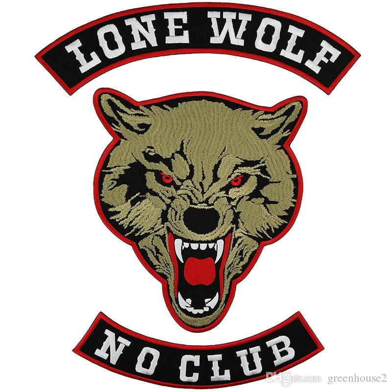 LONE WOLF NO CLUB Embroidery Patch for Clothing Full Back Large Pattern Motorcycle Club For Rocker Biker Punk MC Patches Free Shipping