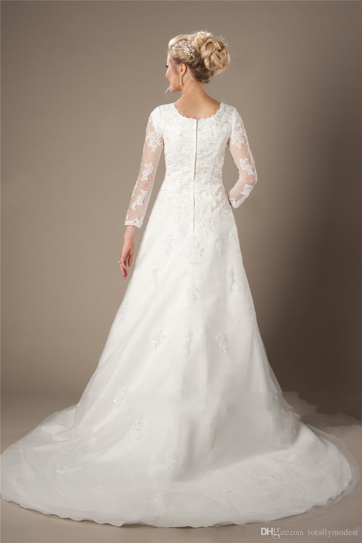 Vestido de Noiva Pizzo Tulle Abiti da sposa modesto con maniche lunghe Illusion Collo quadrato in rilievo Appliques pizzo Corte Abiti da sposa