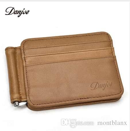 89835326e9ae DANJUE Fashion Men Money Clips Wallet Black Brown Genuine Leather US Dollar  Purse Open Clamp Money Cowskin Credit Card Package Cash Clamp Holder Money  ...