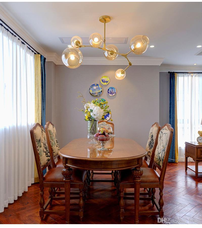 Dallanma Kabarcık LED Kolye Işıkları Altın / Siyah Vücut Nordic Yemek Odası Mutfak Işık Tasarımcısı Asılı Lamba AC110V 220 V