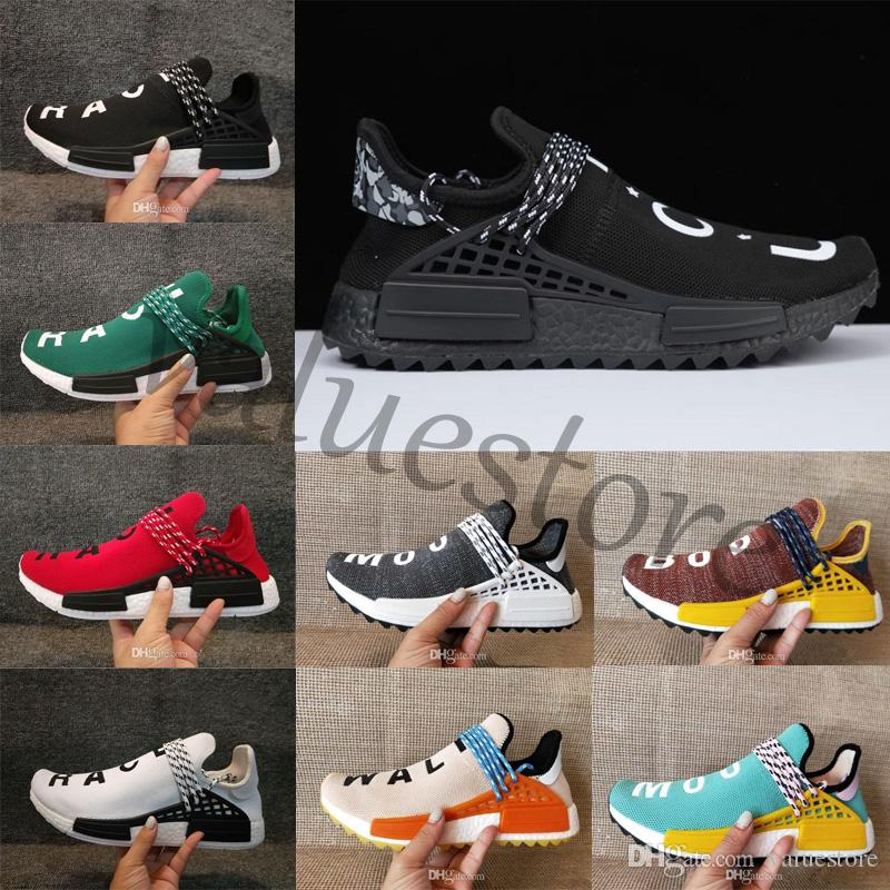 new arrival 09aed 89ca4 Compre Venta Caliente Nmd Human Race Factory Real Boost Amarillo Rojo  Naranja Negro Hombres Pharrell Williams X Carrera Humana Zapatos Zapatillas  Sneakers ...