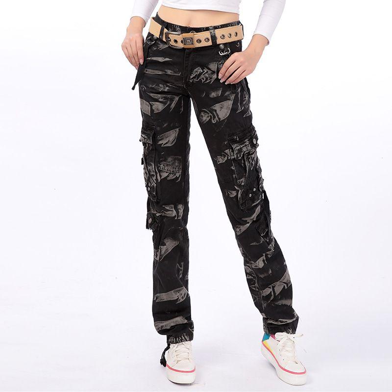 a88e57d80b7 2019 Plus Size Camouflage Cargo Pants Women Military Clothing Tactical Pants  Multi Pocket Cotton Jogger Sweatpant Black Camo Trousers From Dingyuxuan