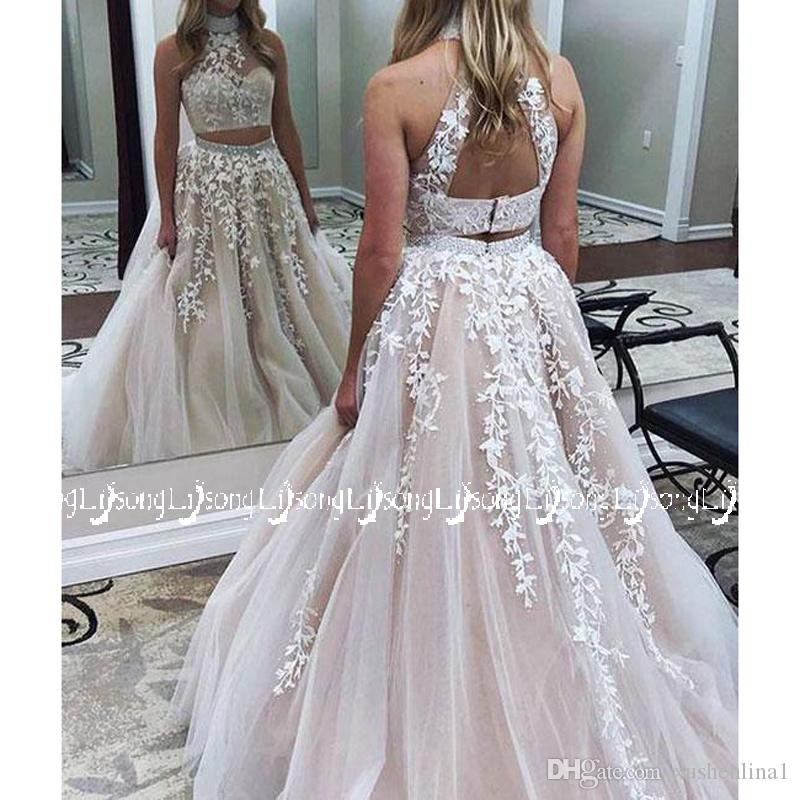 723ebcd8764 Beautiful Two Pieces Prom Dress Appliques Short Top Long Skirt Women Prom  Party Set Maxi Bottom Bead Graduation Homecoming Sister Lady Gown Perfect  Prom ...