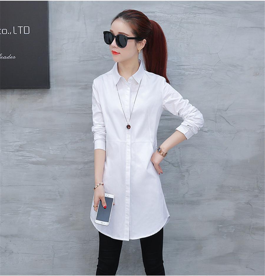 Sonbahar bluz gömlek kadın Kadınlar için Uzun Beyaz Gömlek Tüm Maç Kaliteli blusa feminina Lady Casual Pamuk Bluz Tops