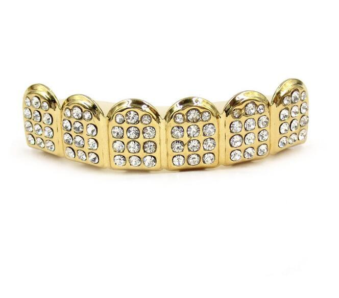 Gold Grills Hip Hop Gold ICED OUT CZ Diamantes Dientes Top Plata Hiphop Joyería Oro Dientes Grillz Rhinestone TopBottom Grills Set Shiny Tooth