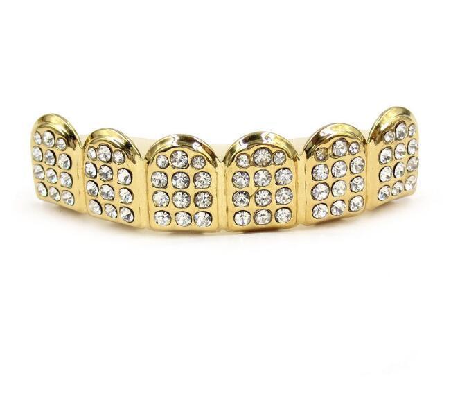 Grillons or grillots hip hop glafe out cz diamants dents top argent hiphop bijoux dents dents grillez strass topbottom grils set dent brillant