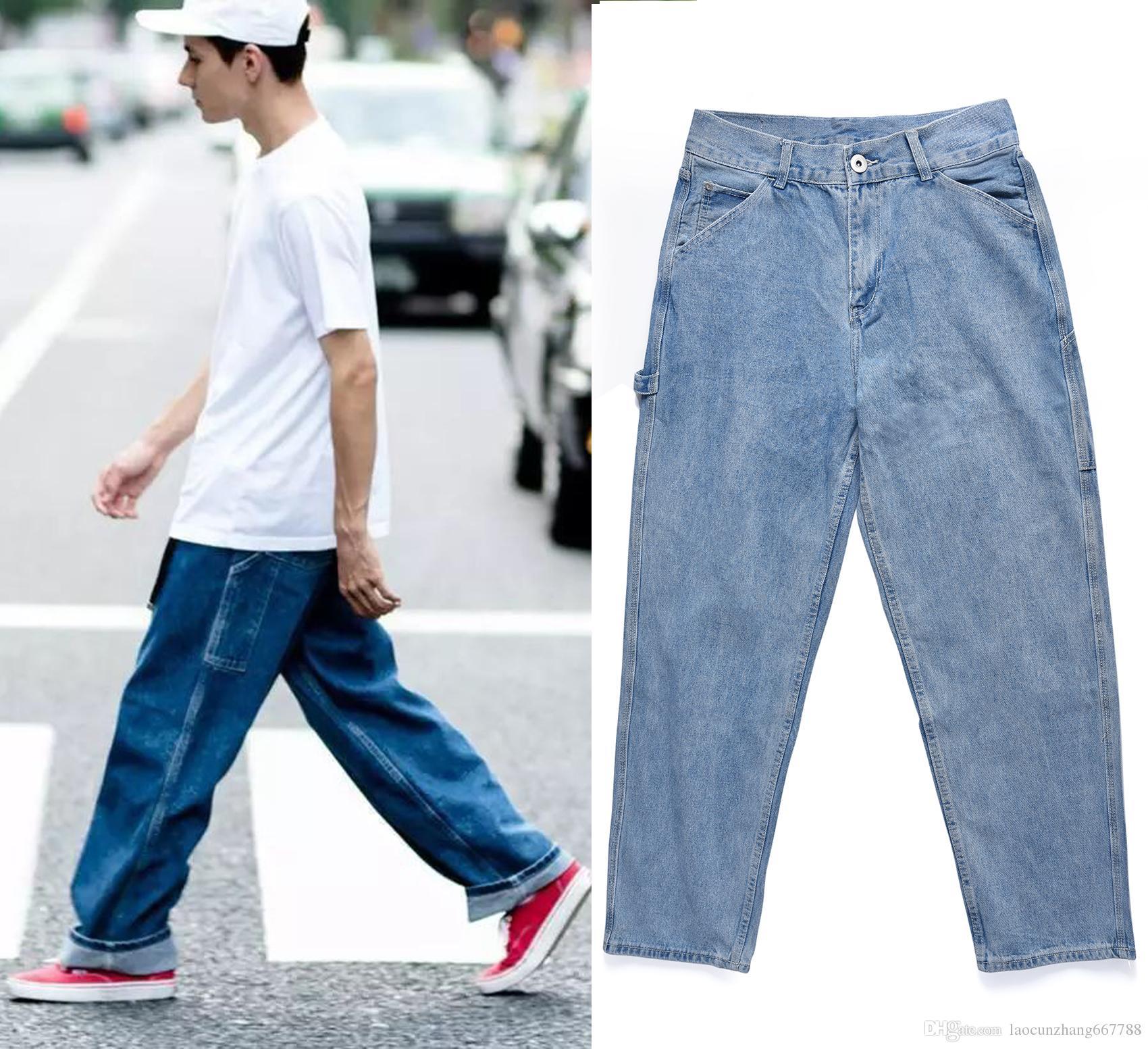 Compre 2018 Mejor Versión RETRO DENIM BLUE Jeans Hombre Baggy Pantalones De  Hipertrofia Hip Hop Casual Streetwear Jeans De Pierna Ancha Talla 30. 32.  34. d7cc51ebb38